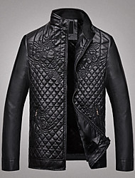 Men's Casual/Daily Chinoiserie Leather Jackets,Solid Long Sleeve Winter Red / Black / Brown PU Thick