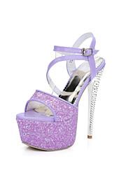 Women's Sandals Summer Platform / Comfort / Ankle Strap Glitter Party & Evening / Dress / Casual Stiletto Heel Sparkling Glitter / Buckle