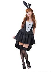 Bunny girl Fête / Célébration Déguisement Halloween Noir/blanc Couleur Pleine Robe / Jambières / Coiffure Noël Féminin