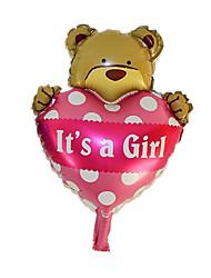 Balões Decoração Para Festas Forma de Coração / Animal alumínio Marrom / Rosa Para Meninos / Para Meninas 5 a 7 Anos