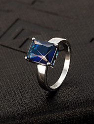 Men's Ring Imitation Sapphire Luxury Zircon Imitation Diamond Jewelry For Wedding Party Daily