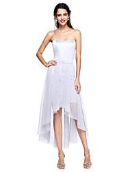2017 Lanting Bride® Bridesmaid Dress A-line Sweetheart Convertible Dress Asymmetrical Satin / Tulle