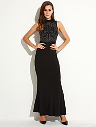 Women's Going out / Party/Cocktail Sexy Sheath Dress,Print Round Neck Maxi Sleeveless Black Polyester Summer