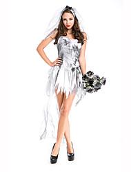Fête / Célébration Déguisement Halloween Blanc Imprimé Robe / CoiffureHalloween / Noël / Carnaval / Nouvel an / Fête d'Octobre / Le Jour