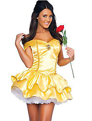 Girls Summer Belle Dresses Costumes Princess Fairytale Costumes Halloween Yellow Patchwork Terylene Dress / More Accessories