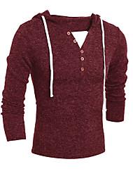 Для мужчин На каждый день Простое Обычный Пуловер Контрастных цветов,Красный Бежевый Серый Капюшон Длинный рукав Хлопок Весна Осень