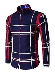 Men's Casual Work Winter ShirtSleeve Blue  Linen Medium