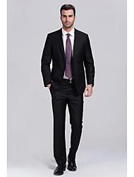 Men's Casual/Daily Simple Blazer,Solid Shawl Lapel Long Sleeve Blue / Black