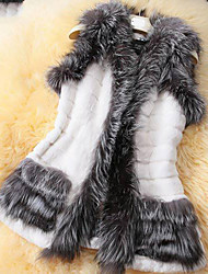 Women's Jackets,Patchwork Sleeveless Winter Faux Fur
