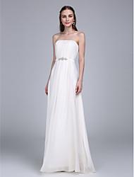 LAN TING BRIDE Floor-length Strapless Bridesmaid Dress - Elegant Sleeveless Chiffon
