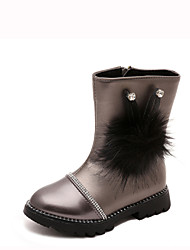 Girl's Boots Spring / Summer / Fall / Winter Comfort Leather Outdoor / Casual Low Heel Side Zippers Black / Pink / Red / Silver Walking