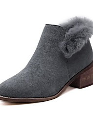 Women's Boots Winter Other Suede Fur Casual Chunky Heel Black Gray Walking