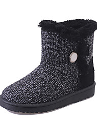 Women's Boots Winter Platform Linen Casual Flat Heel Button Black / White Walking
