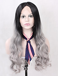Heat Resistant Ombre T1B/Black Color Synthetic Lace Wig Straight Hair Black Root Lace Front Wig With Back Adjustable Strap
