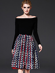 Damen Röcke,A-Linie GeometrischArbeit / Lässig/Alltäglich Einfach / Vintage Mittlere Hüfthöhe Knielänge Reisverschluss Polyester