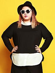 Feminino Camiseta Casual / Tamanhos Grandes Simples Outono / Inverno,feito à mão PretoAlgodão / Poliéster / Fibra Sintética / Elastano /