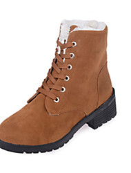 Women's Boots Winter Comfort Leather Casual Low Heel Lace-up Black Light Brown Walking