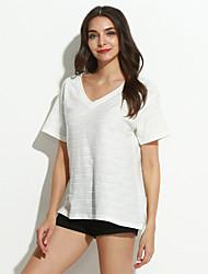 Damen Solide Einfach Lässig/Alltäglich T-shirt,V-Ausschnitt Frühling / Sommer Kurzarm Weiß / Schwarz Polyester Dünn