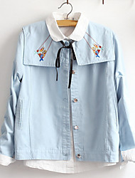 Women's Casual/Daily Sexy / Simple Jackets,Solid Shirt Collar Long Sleeve Fall Blue / Pink Cotton Medium