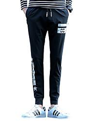 Masculino Tamanhos Grandes Skinny Chinos Calças-Letra Casual Punk & Gothic Cintura Média Com Cordão Algodão Inelástico Outono / Inverno