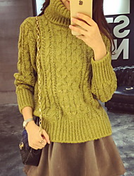 Court Pullover Femme Décontracté / Quotidien simple,Couleur Pleine Vert Col Roulé Manches Longues Coton Automne Hiver Moyen