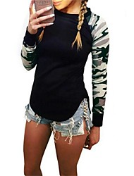 Damen camuflaje T-shirt,Rundhalsausschnitt Herbst / Winter Langarm Schwarz Baumwolle Mittel