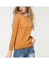 Normal Pullover Femme Sortie simple,Couleur Pleine Orange Col Arrondi Manches Longues Coton Printemps Moyen Elastique