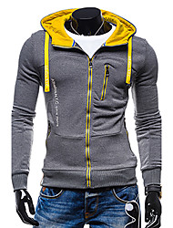 Men's Sports Active Simple Hoodie Jacket Solid Micro-elastic Polyester Long Sleeve Fall Winter