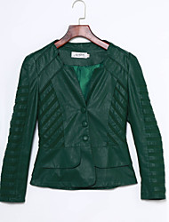 Women's Solid Red/Black/Green Jackets Casual Bateau Long Sleeve