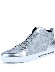 Herren-Sneaker-Outddor Lässig-PU-Flacher Absatz-Komfort-Schwarz Silber Schwarz und Weiss