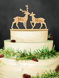 European and American popular couple deer wooden cake inserted exquisite decoration Birthday party wooden cake inserted