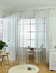 Um Painel Tratamento janela Neoclassicismo / Europeu , Pontos Polka Sala de Estar Poliéster Material Sheer Curtains ShadesDecoração para