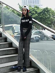 signer 2016 plaid lâche pantalon large coréen des jambes minces sauvages pantalons casual femmes avec ceinture