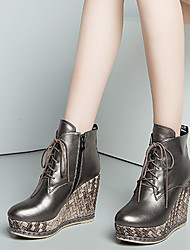 Feminino-Botas-Others-Anabela-Preto / Cinzento Escuro-Napa Leather-Casual