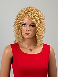 elegante sem tampa de comprimento médio perucas de cabelo humano cacheado