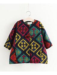 Girl Casual/Daily Geometric Suit & Blazer,Cotton Winter Long Sleeve