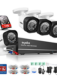SANNCE® 8CH 720P AHD DVR Kits 4PCS 720P IR Night Vision Outdoor CCTV Camera Home Security System Built-in 1TB HDD