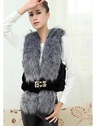 Women's Going out / Casual/Daily Cute Jackets,Solid V Neck Sleeveless Spring Gray Faux Fur Medium