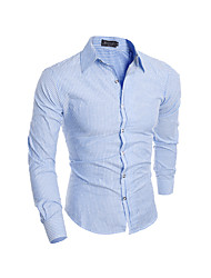 Men's Casual/Daily Simple Shirt,Striped Standing Collar Long Sleeve Blue / Red / Multi-color Cotton