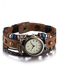 Жен. Модные часы Наручные часы Часы-браслет Кварцевый Защита от влаги Кожа Группа Винтаж Богемные Кольцеобразный Коричневый