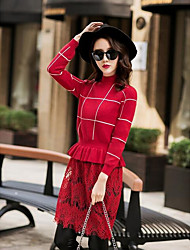 Women's Casual/Daily Simple Sweater Dress,Plaid Round Neck Maxi Long Sleeve Blue / White Polyester Spring High Rise Micro-elastic Medium