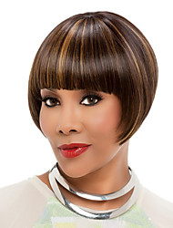 Short Bob Full Side Bang Synthetic Wigs Brown Mix Golden Heat Resistant Hair