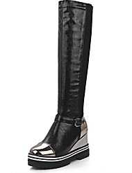 Women's Boots Fall / Winter Platform Leather Outdoor / Dress / Casual Low Heel Buckle / Others Black / Red / Champagne