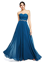 LAN TING BRIDE Floor-length Sweetheart Bridesmaid Dress Sleeveless Georgette