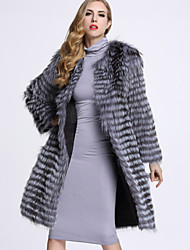 BF-Fur Style Women's Casual/Daily Sophisticated Fur CoatSolid Round Neck Long Sleeve Winter Gray Fox Fur