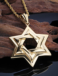 Kalen New Stainless Steel 18K Dubai Gold Plated Six-Pointed Star Pendant Necklace Twisted Long Chain Necklace For Men Gifts