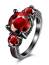 Anéis Casamento / Festa / Diário / Casual Jóias Zircão / Cobre Feminino Anel / Anel de noivado 1pç,6 / 7 / 8 Vermelho / Púrpura