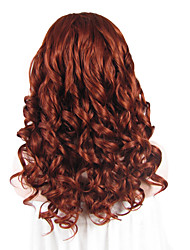 IMSTYLE 20''Beautiful Auburn Curly Wave Synthetic Lace Front Wigs High Heat Resistant For Party