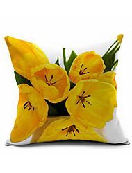 Flower Cotton Linen Throw Pillow Case Home Decorative  Cushion Cover Pillowcase Car Pillow cover(Set of 1)