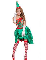 Festival/Celebração Trajes da Noite das Bruxas Verde Cor Única Vestido / Luvas / Chapéus Natal Feminino Veludo